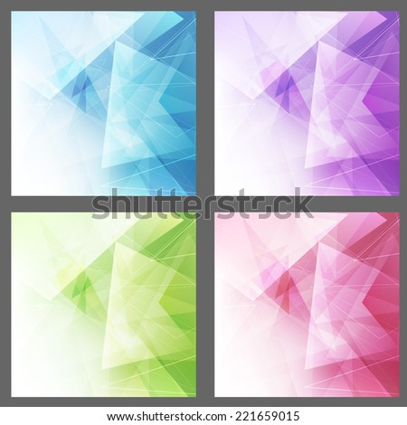 Triangle structure backgrounds set templates. Vector illustration - stock vector