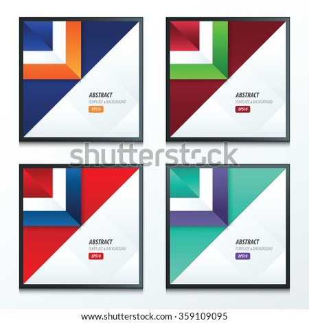 triangle template vector set 4 item 2 color in style - stock vector