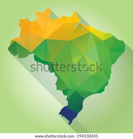 Triangle texture Brazil map, vector geometric concept - stock vector
