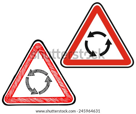 Triangle traffic sign for roundabout. Warning sign. Doodle style - stock vector