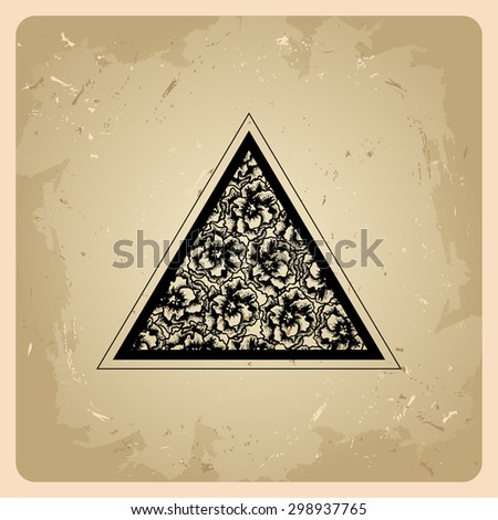 Triangle with flowers in the style of tattoos - stock vector