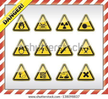 Triangle Yellow Danger Symbols Stock Vector 138098837 Shutterstock