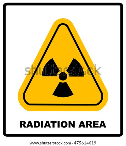 Triangle yellow radiation hazard symbol with text high radiation area isolated on white background banner with text radiation area