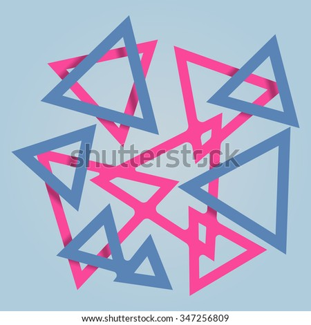 triangles background abstract crossing 3d on different levels overlapping shadow