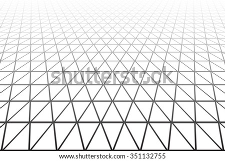 Triangles, diamonds and  hexagons geometric texture. Perspective view. Vector art. - stock vector