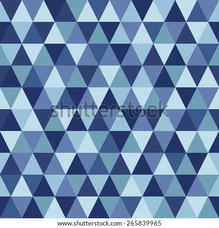 Triangles geometrical seamless vector pattern background. Shades of blue.