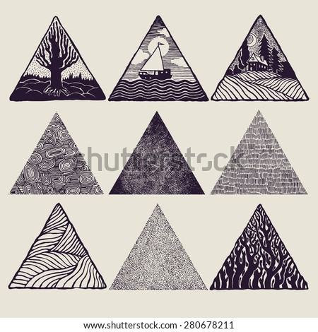 Triangles set. vector illustration. - stock vector