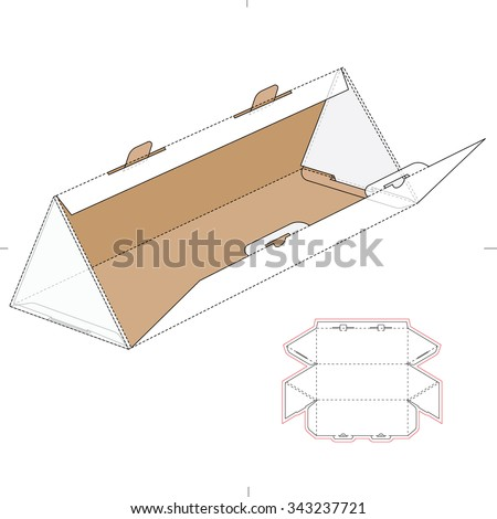 Triangular Box with Die Cut Template and Layout - stock vector