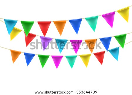 triangular bunting decoration on rope background on white. vector - stock vector