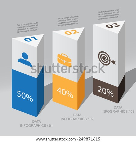 triangular columns data / vector element Infographic - stock vector