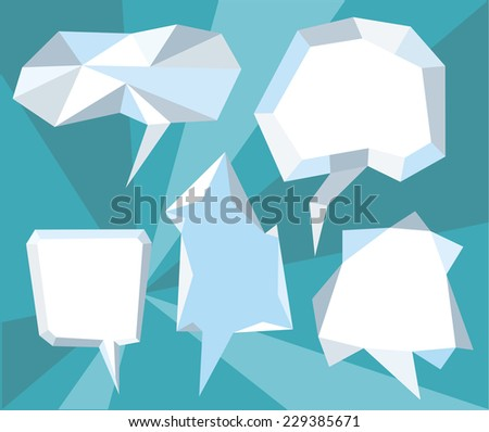 Triangular 3d bubble speech. Set of comic bubbles and elements with on stylish background cartoon design style - stock vector