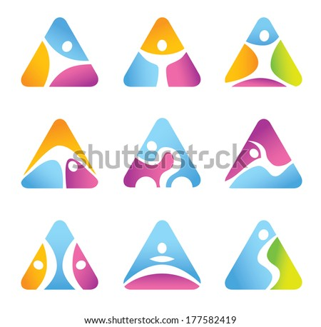 Triangular Fitness symbols and icons - universal character - Flat design - vector graphics - diverse color style - stock vector