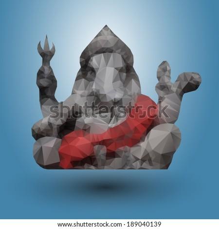 Triangular Hindu God Ganesha, illustration vector. - stock vector