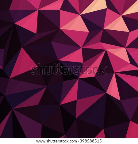 Triangular Low Poly Dark Pink Pattern - stock vector