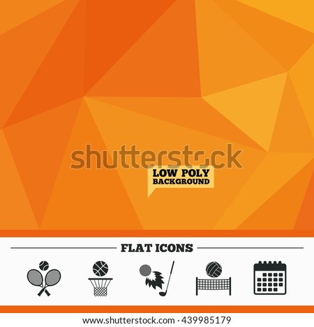 Triangular low poly orange background. Tennis rackets with ball. Basketball basket. Volleyball net with ball. Golf fireball sign. Sport icons. Calendar flat icon. Vector - stock vector
