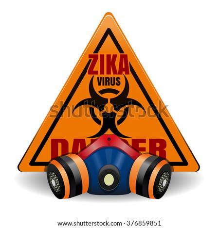 Triangular orange warning sign with Zika Virus and respirator. Danger sign. Vector illustration. - stock vector
