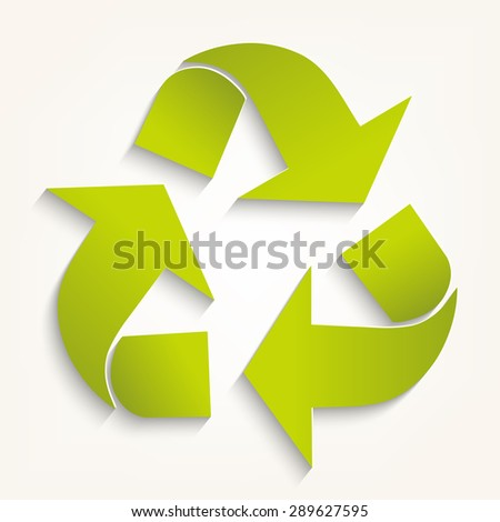 Triangular recycling symbol. Vector illustration on  white background.