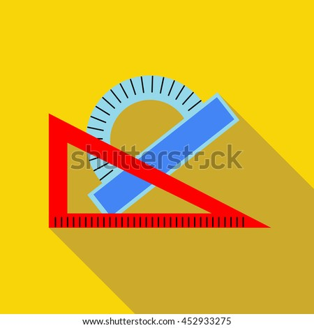 Triangular ruler and protractor icon in flat style on a yellow background - stock vector