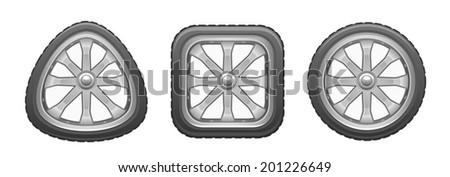 Triangular square round wheel - stock vector