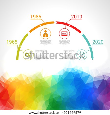 Triangular Timeline Infographic. Vector design template. - stock vector