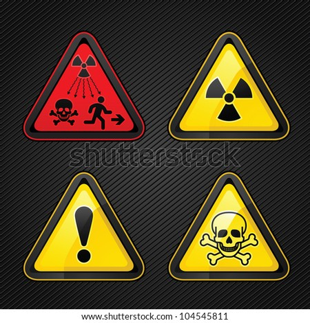 Triangular Warning Hazard set signs (New Symbol Launched to Warn Public About Radiation Dangers) - stock vector