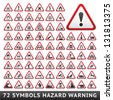 Triangular Warning Hazard Symbols. Big red set, vector illustration - stock photo