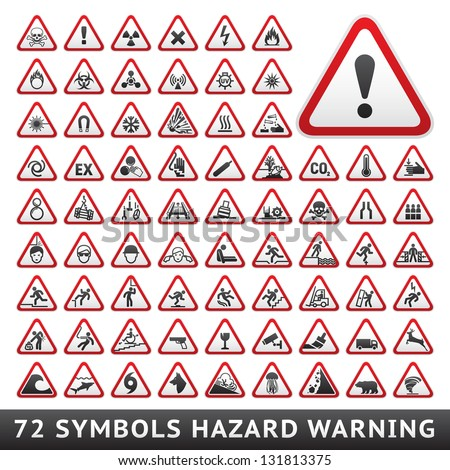 Triangular Warning Hazard Symbols. Big red set, vector illustration - stock vector