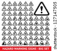 Triangular warning hazard  symbols. Big set - stock photo