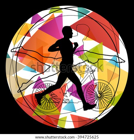 Triathlon athlete men active concept silhouettes in abstract sport landscape background illustration vector - stock vector