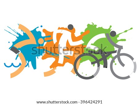 Triathlon athletes on the grunge background. Vector available.