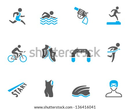 Triathlon icon series  in duo tone colors. - stock vector
