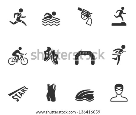 Triathlon icon series  in single color - stock vector