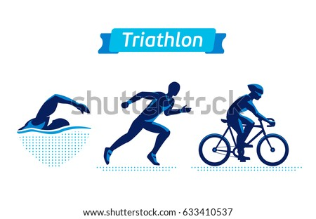 triathlon logos badges set vector figures stock vector 633410537 rh shutterstock com triathlon logos design triathlon logo clip art