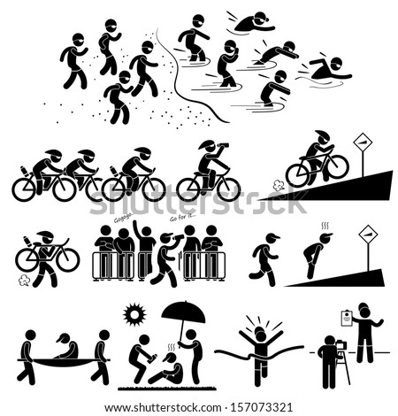 Triathlon Marathon Swimming Cycling Sports Running Stick Figure Pictogram Icon Symbol - stock vector