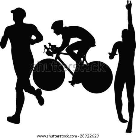 triathlon - vector - stock vector