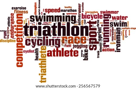 Triathlon word cloud concept. Vector illustration - stock vector