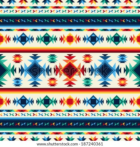 Tribal abstract seamless pattern aztec geometric background. - stock vector