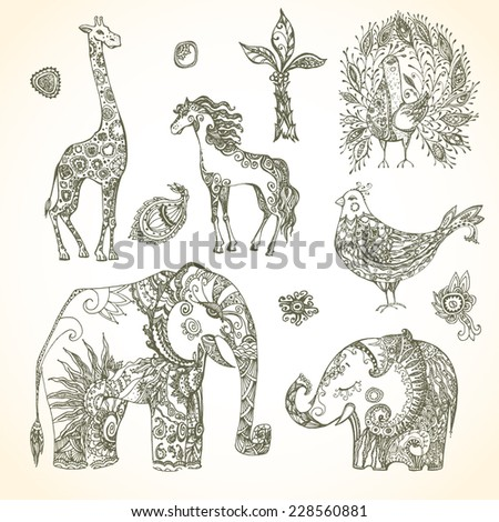 Tribal animal  set - stock vector