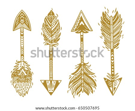 Tribal arrows collection with gold feathers isolated on white background. Ethnic native vector illustration