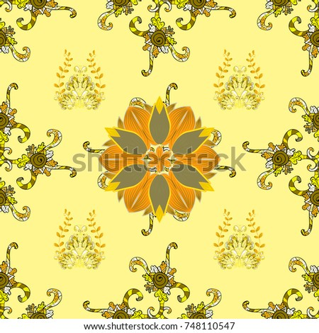 Tribal Art Boho Print Vintage Flower Background Texture Wallpaper Floral Theme In Brown