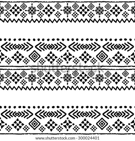 Tribal art boho seamless pattern. Ethnic geometric print. Aztec repeating background texture in black and white. Fabric, cloth design, wallpaper, wrapping - stock vector
