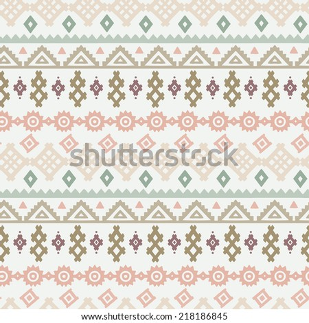 Tribal art ethnic seamless pattern. Folk abstract geometric print. Repeating background texture. Fabric design. Wallpaper  - stock vector