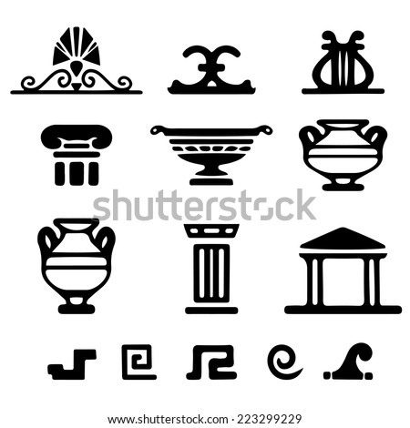 Tribal art Greek ethnic icons. Greece sketch cartoon hand drawn black silhouettes isolated on a white background. Logo art design  - stock vector