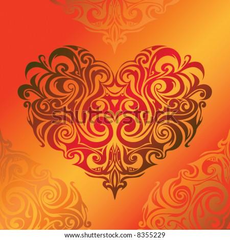 Tribal art: heart - stock vector