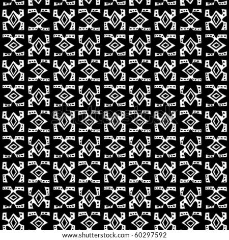 Tribal art. Seamless b/w vector pattern. - stock vector