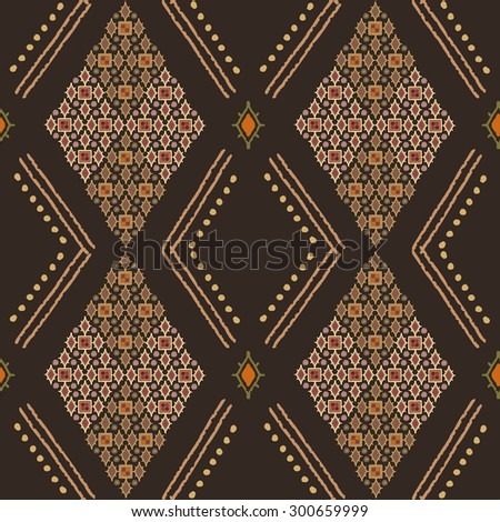 Tribal art seamless pattern. Ethnic geometric print. Arabic repeating background texture. Fabric, cloth design, wallpaper, wrapping - stock vector