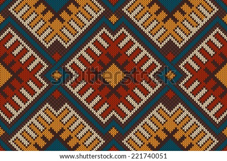 Tribal Aztec seamless pattern on the wool knitted texture - stock vector