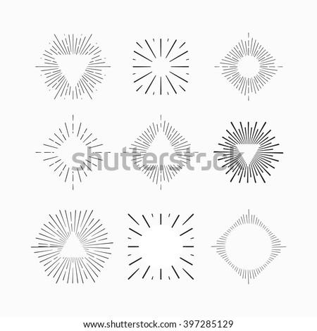 Tribal boho style Sun burst shape with place for your text. Vintage starburst logo, label, badge. Sunburst minimal logo frame. Vector firework burst design element. Minimal vintage Sunburst light logo - stock vector