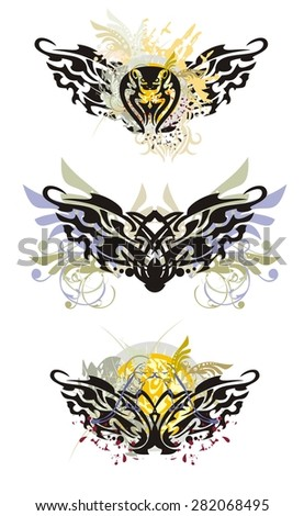 Tribal butterfly splashes. Grunge dragon butterflies with colorful splashes, with a snake, the sun, floral elements and blood drops  - stock vector