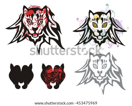 Tribal cat's head symbols. Abstract symbols of the cat's heads. Grunge head of a cat and icons of the cat's head - stock vector